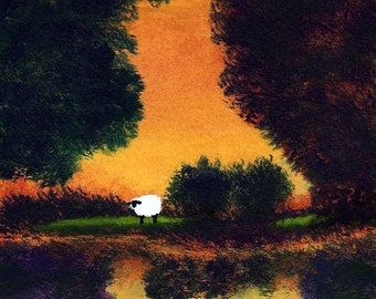 Border Collie Dog folk art PRINT of Todd Young painting SUMMER POND