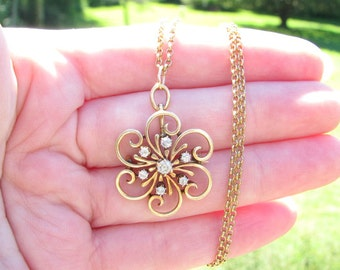 Gold and Diamond Flower Pendant Brooch Necklace, Old European Cut Diamond, Pretty Design in 14K Gold, on Antique Gold Chain