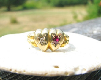 Antique Ruby Diamond Ring, Victorian era Sweetheart Ring, Hallmarked 1898, Solid 18K Gold, Charming and Lovely Condition