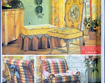 Simplicity 5081 Showhouse Slipcovers Ottoman Chair English Cottage French Country Sewing Pattern Out of Print UNCUT