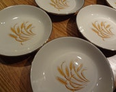 Mid Century Dining - Set of Six Golden Wheat Pattern Bowls - Gold Trim - Tableware - Country Farmhouse