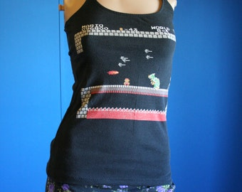 Mario Brothers Nintendo NES Shirt recycled tshirt Halter Top XSmall