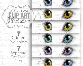 7 Files -- Cat Eyes Clip Art, Kitten Cat Face Art Drawing, Digital Download, Clipart Sketch, Scrapbook & Craft Supply (0173b4v)