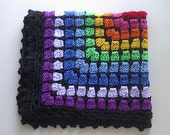 "Rainbow Crocheted Doll Afghan Blanket in Pirmary Colors & Black Trim for 14"" to 18"" Dolls  - 16"" x 20""  Red Orange Yellow Green Blue Purple"