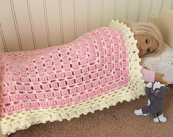 """Crocheted Afghan Blanket in Pink or Lavender with Cream Trim  made to fit 14"""" to 18"""" American Girl and Waldorf Dolls - Measures 16"""" x 20"""""""