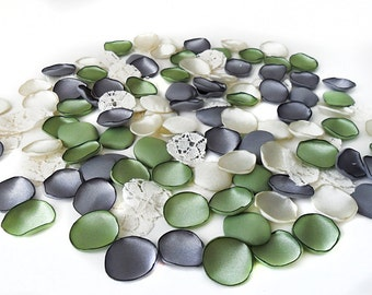 Flower petals - handmade lace and satin petals, cream, silver gray, champagne and green petals, fabric flowers, wedding petals, flower girl
