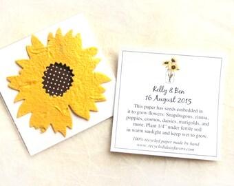 100 Sunflower Seed Wedding Favors - Golden Yellow Plantable Paper Fall Wedding Favor - Custom Cards