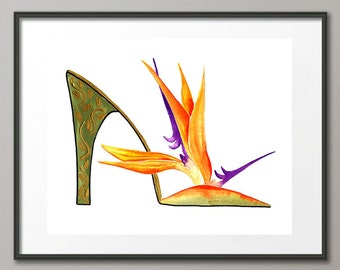 Fine Art Print Bird of Paradise Tropical Flower Shoes Stiletto Fashion Colorful Watercolor Elena
