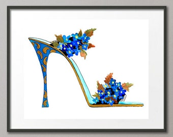 Fine Art Print Forget Me Not Flower Shoes Stiletto Fashion Colorful Watercolor Painting Elena