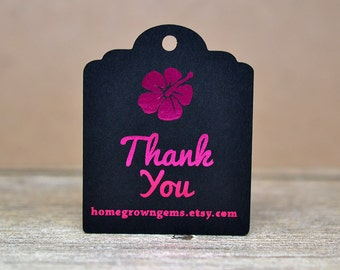 Metallic Hibiscus Flower Hawaiian Thank You Tags - Customized - Gift Tags - Thank you Tags - Shinny Metallic Gold Silver Magenta Copper