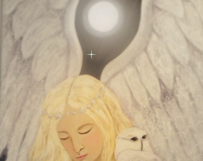 Angel and Owl cropped mounted print