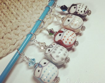 5 Stitch Markers - Study Group Owls