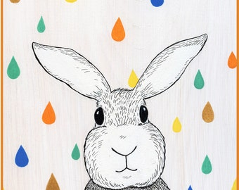 Colorful Raindrop Bunny Art Print