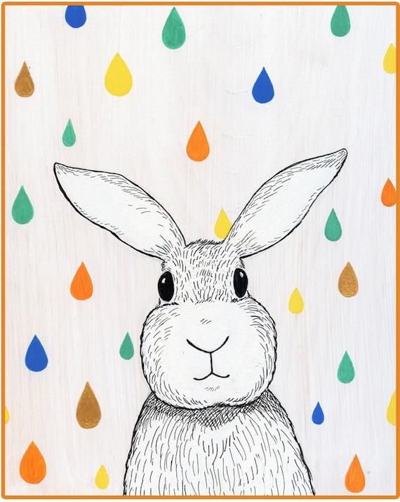 Colorful Raindrop Bunny Art Print