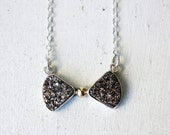Sterling Silver and 14k Gold Druzy Bowtie Necklace