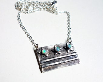 Handmade Sterling Silver DC Flag Necklace with Three Opals- Handmade in DC