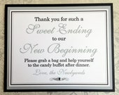 8x10 Flat Sweet Ending to Our New Beginning Wedding Candy Buffet Sign in Navy Blue and White and Metallic Silver - READY TO SHIP