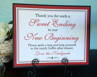 CLEARANCE 8x10 Flat Printed Sweet Ending to Our New Beginning Wedding Candy Buffet or Dessert Sign in Black and Red - Ready to Ship