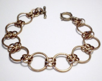 Sleek and Chic Circles Bronze Chainmaille Bracelet