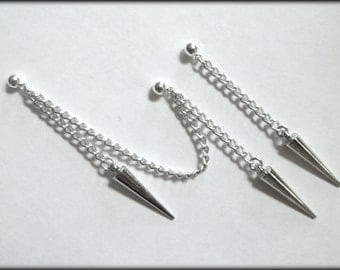 Simple Chains and Spikes Cartilage Chain Earrings