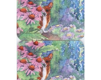 2 x Welsh Corgi dog coasters - hiding out in the garden amongst the flowers we all need our own space