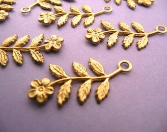 10 Brass Flower Leaf Branch Findings