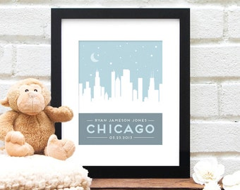 Skyline Print, Babies First Christmas, New Baby Gift, Personalized City Skyline, Baby Nursery Art, Chicago Poster, Newborn Baby Name, Urban