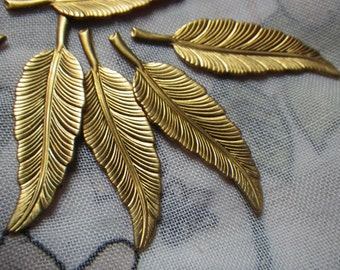 Vintage Brass Feather Stampings 33x11mm 6 Pcs