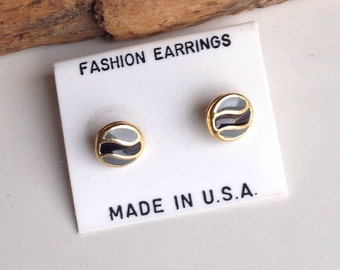 Vintage Jewelry, Vintage Earrings, Enamel Earrings, Gray and Black, Cloisonne Earrings, Tiny Earrings, Old New Stock, Etsy, Etsy Jewelry