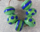 Grass green and cobalt Blue - Lampwork Bead Set
