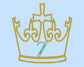 King / Prince Crown with Applique 7 Number Machine Embroidery Design File
