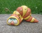 Ceramic Inch Worm-yard art-cute yellow and orange worm-copper antennae-spotted worm-worm sculpture