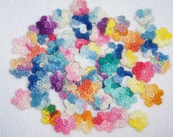 60 variegated cotton thread crochet applique flowers   -- 2002