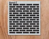 "Bricks Repeat Pattern - Reusable Craft & DIY Stencils - S1_8P_12_S1 - Small -(5.75""x6"")- By Stencil1"