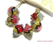 Handmade Lampwork Boro Beads, Spanky's Designs, Zesty Lemon Sunset, Lemon shaped beads