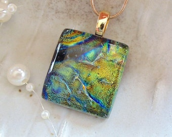 Dichroic Pendant, Necklace, Glass Jewelry, Olive Green, Gold, Necklace Included, A2