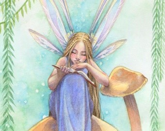 Fairy Art Print - Fairy Reading a Book