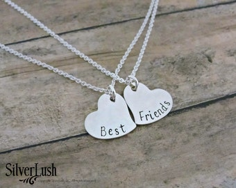 BFF Sterling Silver Heart Necklace Set - Best Friends Gift