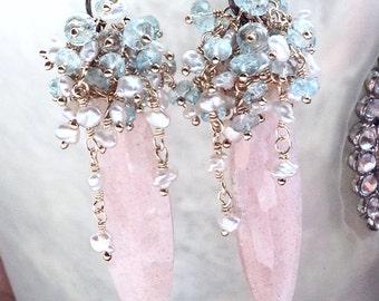 Pink Moonstone Saltwater Keshi Santa Maria Aquamarine Mixed Metal Chandelier Fringe Dangle Earrings