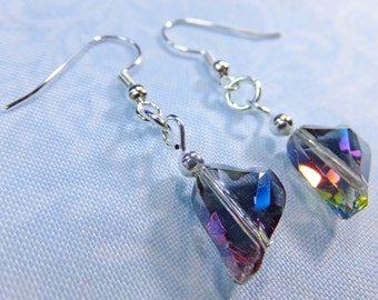 Rainbow Glass Crystal Swing Hearts Dangle Earrings Romantic Multicolored Beads