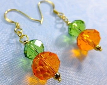 Bright Orange and Green Crystal Beaded Dangle Earrings with Fish Hook Earwires