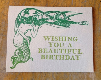 mermaid birthday letterpress card