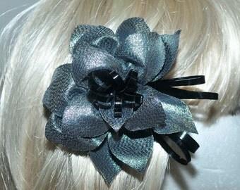 silver/Black  hair piece, formal, wedding, bridesmaids, clip on back