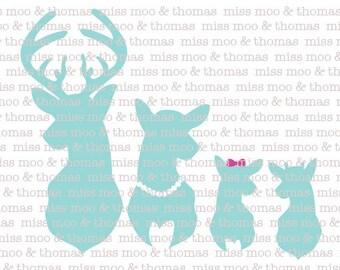 Mint Deer Family Car Window ipad ice chest wall vinyl Decal Buck Doe Spike
