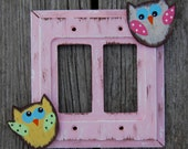 OWLS Switch Plate Cover - Hand Painted Wood - Any Size