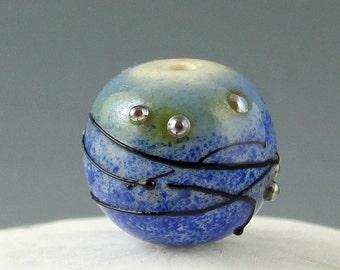 Lampwork Glass beads, Handmade lampwork focal bead, artist lampwork, bead pendant, bead jewelry supplies, glass focal bead, Tiny Planet VIII