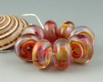 Caramel Cherry,8 Handmade Lampwork Glass Beads,lampwork bead set,jewelry supplies,lampwork spacer bead,artist lampwork