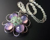 Gulf Coast Pink Dogwood Blossom Necklace in Sterling Silver