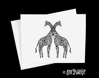 Giraffe pair Notecards Anniversary Card