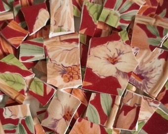 Mosaic Tiles--Red Tropics-50 Tiles